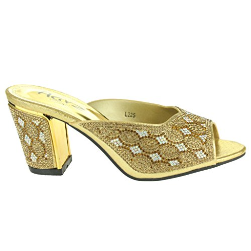 Mujer Señoras Brillante Piedras de Strass Joyado Talón medio del bloque Ponerse Noche Boda Fiesta Paseo Sandalias Zapatos Tamaño Oro