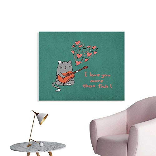 (Anzhutwelve I Love You More Home Decor Wall Cartoon Singing Cat with Guitar More Than Fish Song Music Notes and Hearts Poster Paper Multicolor W32)