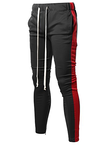 (Style by William Casual Side Panel Long Length Drawstring Ankle Zipper Track Pants Black Red XL)