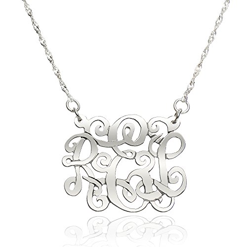 14k White Gold Singapore Pendant (14K White Gold Personalized Monogram Necklace (20 Inches, Singapore Chain))