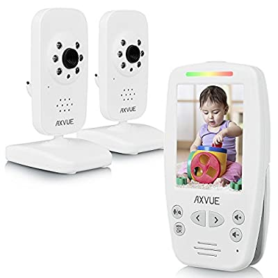 "AXVUE E662 Video Baby Monitor with Two Cameras and 2.8"" LCD, Night Vision, Night Light, Temperature Detection, 2-Way Talk, VOX, Sound Lights, Power Saving On/Off, Expandable Cam from AXVUE INC."