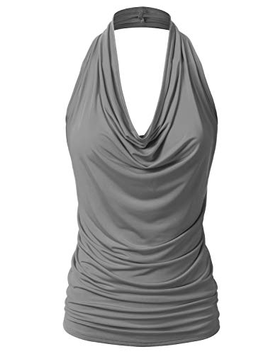 EIMIN Women's Casual Halter Neck Draped Front Sexy Backless Tank Top Charcoal 3XL