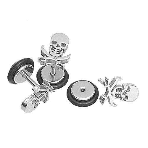 HOUSWEETY 316L Stainless Steel Hip-hop Personality Skull Screw Back Stud Earrings 9.5x7.5mm-1pair