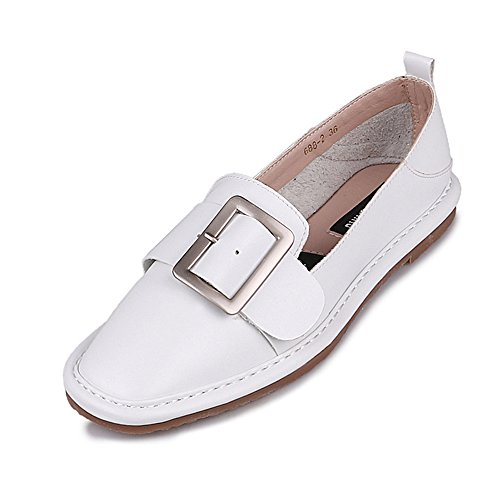LongFengMa Women Casual Flats Pumps Slip On Leather Court Shoes (5.5 UK , White)