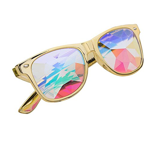 FUT Premium Kaleidoscope Hallowmas Cosplay Goggles, Best Rave Diffraction Crystal Lenses Kaleidoscopic Prism Glass Festival, Party, Christmas