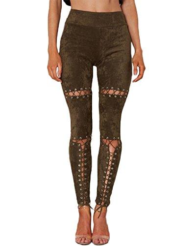 Auxo Mezclilla Jeans Cintura Alta Pantalones Rotos Vaqueros Largos de Lápiz para Mujer Verde del ejército