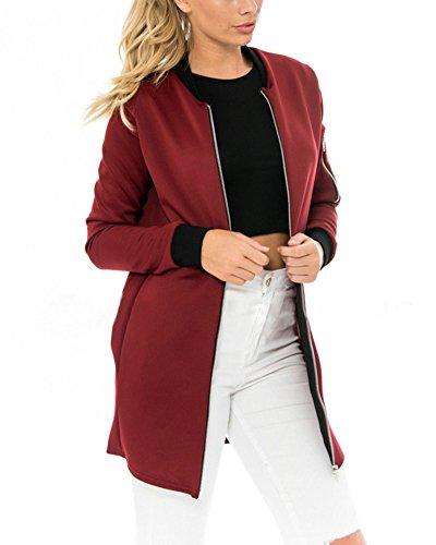 en Femme Zip Cardigan Classique Manteau Punk Veste Rouge Jacket Bomber Long Automne Blouson Vrac Vin t1zxfwt