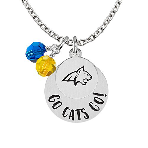 (Montana State Bobcats GO Necklaces With Round Charm and Crystal Accents)