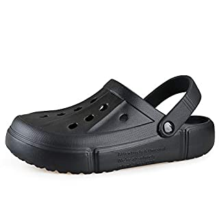 FZUU Mens Women Breathable Garden Clogs Comfortable Slip On Beach Sandals Lightweight Slippers Water Shoes (Black, Numeric_10)