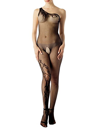 iB-iP Women's One Shoulder Lace Fishnet Sheer Crotchless Mesh Long Bodystocking, Size: One Size, Black (One Fishnet Shoulder)