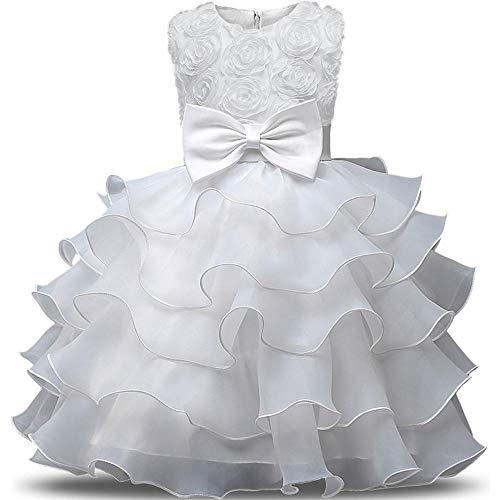 QJKai Wedding Dress Princess Dress Flower Baby Puff Butterfly Dress