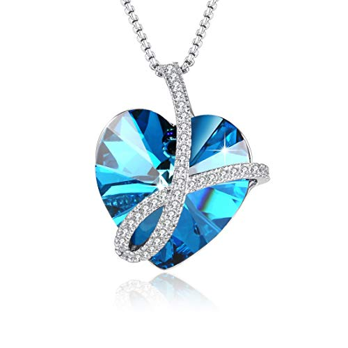 - PLATO H Blue Crystal Pendant Necklace, Crystal from Swarovski, Love Heart Shape Necklace, Woman Fashion Blue Crystal
