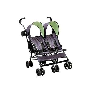 Delta Children LX Side by Side Tandem Umbrella Stroller, Lime Green