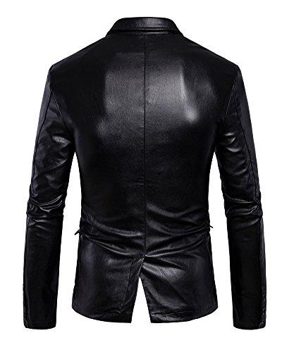 Faux Elegante Cappotto Uomo Di Misura Da Capispalla Sottile Nero In Motociclista Pelle Pulsante Giacca Biker xpnfwzFCqq