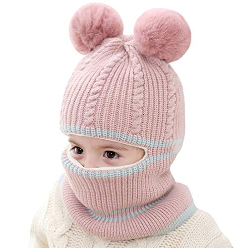 Kids Winter Hat, Baby Knit Hat, Baby Girls Boys Winter Hat, Thick Scarf Earflap Hood Scarves Skull Caps, 1-4T