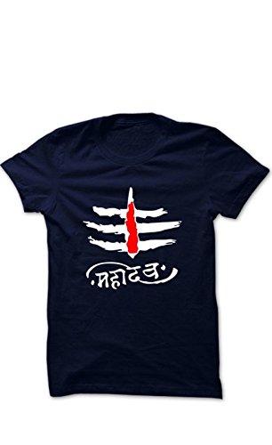 8a265eb7c Attitude Start Of Fashion Men's Cotton T-Shirt (Blue_Mahadev Single Print  Blue T-