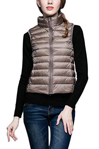 Fashion Coat Winter Sleeveless Color Elegant Pockets Fit Khaki Zipper with Jacket Coats Vest Vest Solid Down Front Women Cozy Collar Stand Pingrog Slim aqwgHA