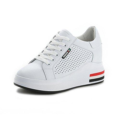 Verano Cómodos 34 con Agujero de aumentados de Cuero Blanco Zapatos Zapatos Femenino para Mujeres SBL Casuales REzqZz