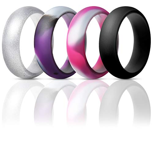 ThunderFit Silicone Rings Wedding Bands for Women 4 Pack (Purple Camo, Pink Camo, Silver, Black, 5.5-6 (16.5mm))]()