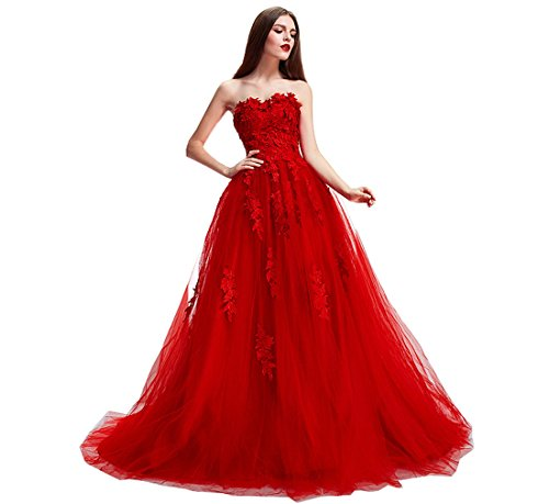 Nicefashion Women's 2017 Floral Lace Ball Gown Puffy Celebrity Pageant Gowns Red Quinceanera Dress (Red Wedding Dress)