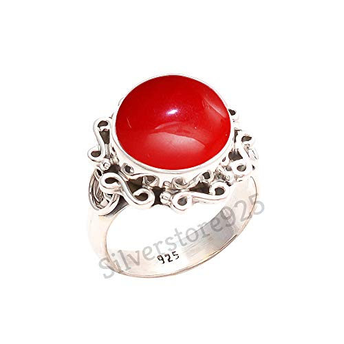 925 Sterling Silver Red Coral Ring - Red Stone Gemstone Ring For Girl Women Gift Ring Size 4 5 6 7 8 9 10 11 12 13 14 15 16