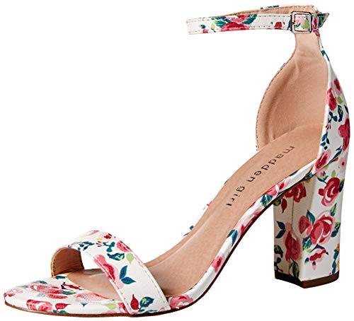 Madden Girl Women's BEELLA Heeled Sandal White Floral 6.5 M US - Floral Open Toe