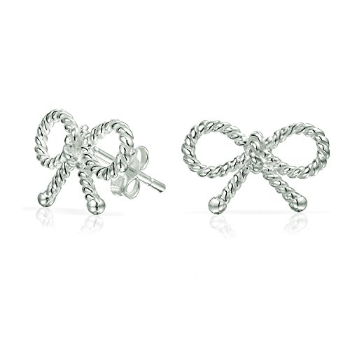 Thin Dainty Twist Rope Cable Ribbon Bow Stud Earrings For Women For Teen 925 Sterling Silver ()