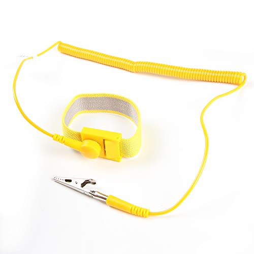 - ESD Wrist Strap Band - FEITA Anti Static Wrist Strap with 8 feet Detachable Extra Long Coiled Cord - Anti-Static Wristband with Alligator Clip - Yellow - 1 Pc
