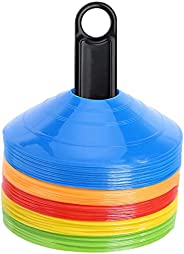 50Pcs Pro Disc Cones - Training Cones Agility Soccer Cones with Carry Bag for Training, Soccer, Football, Bask