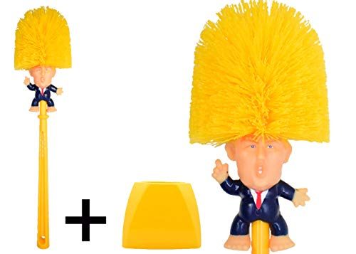 Famous Toilet Donald Trump Toilet Brush Bowl with Holder, Trumps Funny Political Gag Gifts for Your Friends, Make Your Toilet Great Again, The Presidential Novelty Gift. (Trump Brush + Base) Donald.