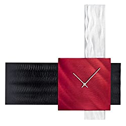 Nova Lighting Align Collection Abstract Modern Wall Clock With Numberless Design Finish Red/Aluminum