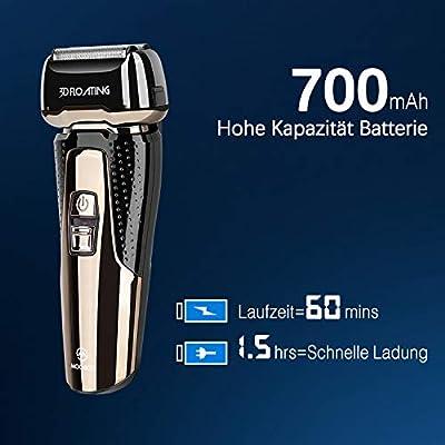 MooSoo Afeitadora eléctrica de la maquinilla de afeitar masculina, recarga rápida 1.5 horas 60 minutos - tiempo de espera, maquinilla de afeitar inalámbrica con pantalla LED, húmedo/seco/impermeable: Amazon.es: Salud y cuidado personal