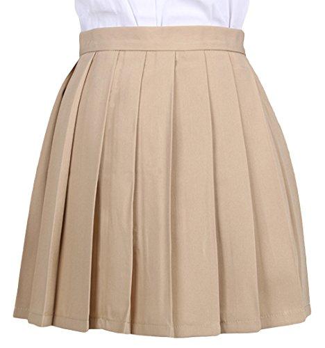Haut Kaki vas La Stretch Grande Vogue Pliss Courte Jupe Mini Taille 7w8vqOwpU6