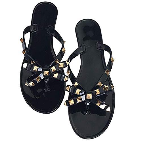 Women Stud Bow Flip-Flops Sandals Beach Flat Rivets Rain Jelly Shoes (9.5 B(M) US, Black 2)