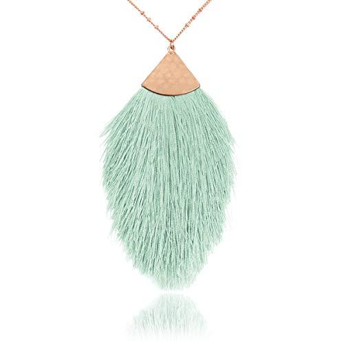 - Antique Bohemian Silky Thread Fan Tassel Statement Drop - Vintage Gold Feather Shape Strand Fringe Lightweight Hook/Acetate Dangles Earrings/Long Chain Necklace (Necklace Feather Fringe - Mint)