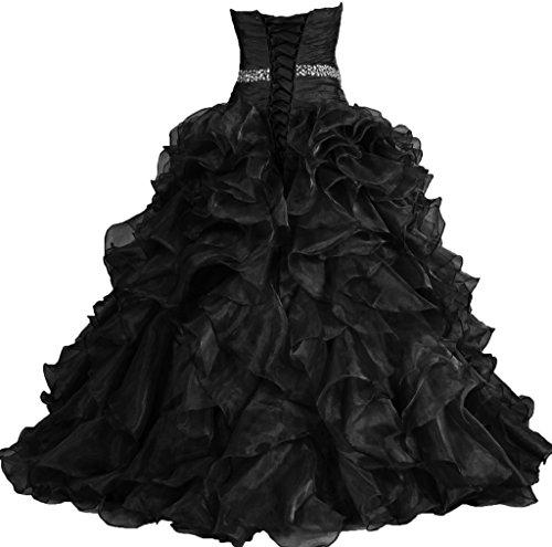 Dress Gown ANTS Quinceanera Prom Pretty Black Women's Ruffle Ball Dresses wq7xXtB7a