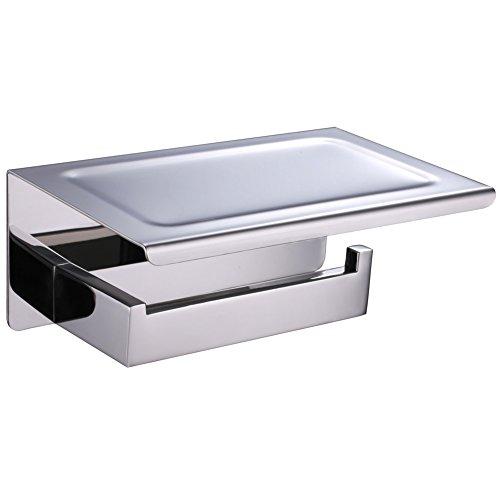 Bathroom Tissue Holder with Phone Shelf, Angle Simple SUS304