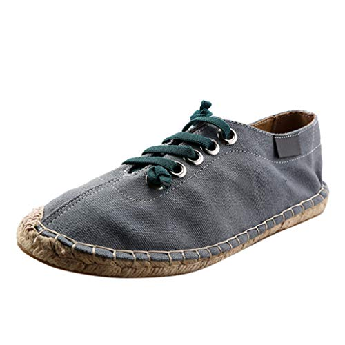 FRENDLY Fashion Men's Trend Lace-Up Shoes Canvas Linen Fisherman Shoes Casual Breathable Work Loafer Blue