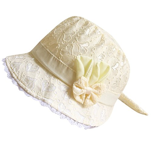 Riverdalin Baby Girls Fishmen Hat Floral Embroidered Bow Wide Brim SPF 50+ Protective Hat Boho Visor Sun Hat (Yellow)]()