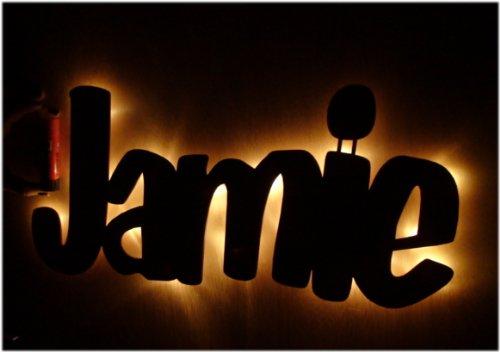 Werbeschild Namensschild Kinderlampe aus ihrem Namen - Holz Hintergrundbeleuchtung