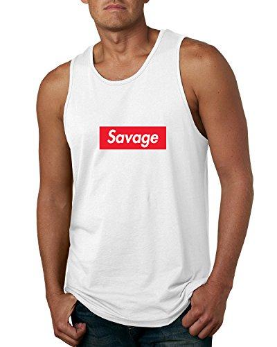 Wild Bobby Savage Red Box Logo Parody | Mens Streetwear Graphic Tank Top, White, Small - White Logo Tank