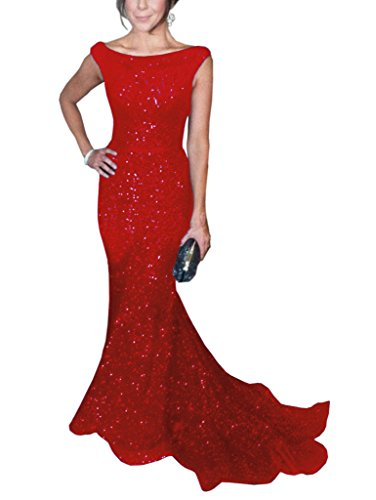 SOLOVEDRESS Women's Mermaid Sequined Formal Evening Dress for Wedding Prom Gown (US 14,Red)