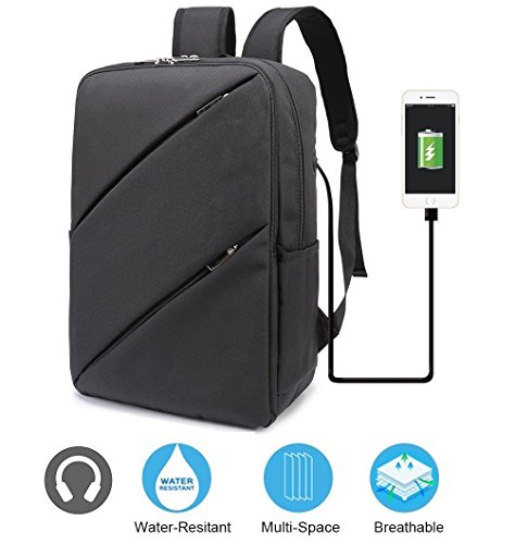 KASOU Laptop Backpack Business Computer Bags with Headphones Hole, Water Resistant College School Bookbag for Men Women Travel Backpack, Fits 15.6-Inch Laptop and Notebook (Black)