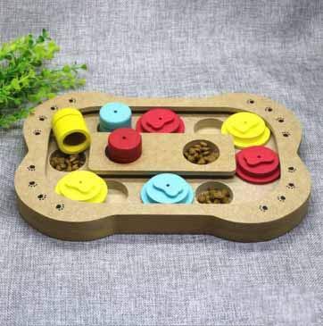 Bone type Pet Food Bowl Dog Bowl Fun Puzzle Food Bowl Toy Green Wood Food Bowl Utensils Slow Food Antimite (Style   Bone Type)