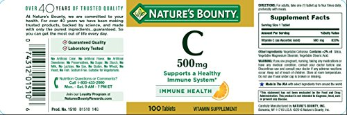 Nature's Bounty, C 500 mg Pure Vitamin C Tablets