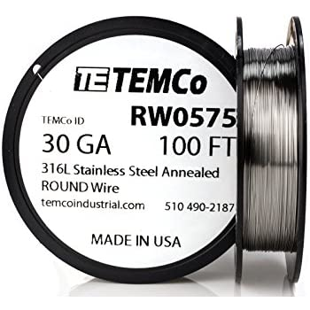 TEMCo Stainless Steel Wire SS 316L - 30 Gauge 100 FT Non-Resistance ...