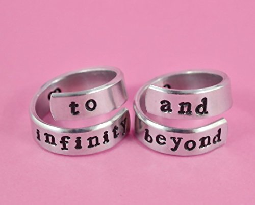 (to infinity and beyond - Hand Stamped Aluminum Spiral Rings Set of 2, Best friends BFF Ring, Mom Daughter Mother's Day Gift, Couples Lovers Valentine's Day Gift, Newsprint)