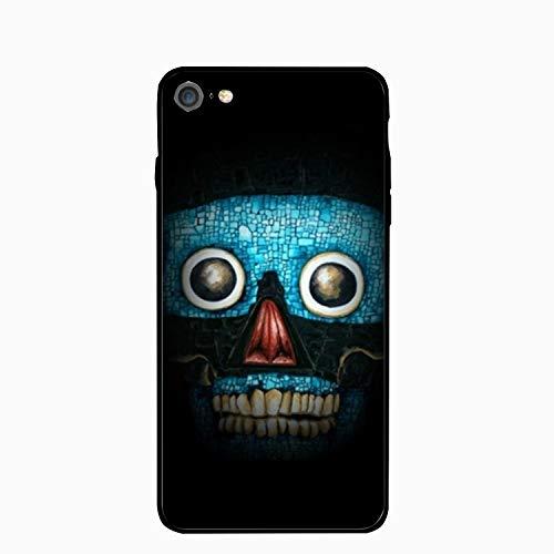 iPhone 6plus Case,Blue Mosaic Skulldigital Art Mirror Bumper Cover Compatible for iPhone 6plus