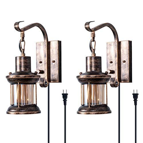 (Rustic Wall Light, 2-in-1 Oil Rubbed Bronze Vintage Wall Light Fixtures Hardwired Plug in Industrial Glass Shade Lantern Lighting Retro Lamp Metal Wall Sconce for Home Bedroom Dining Room café(2 pack))