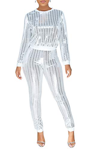 Lucuna Women 2 Piece Tracksuit Set Long Sleeve High Waist Pants Set,X-Large, 10white from Lucuna